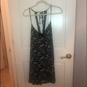 Black/Rose Printed Lace Angie Mini Dress